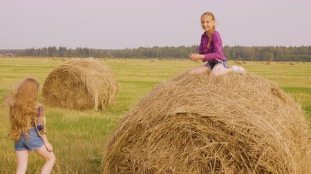 bales : Summer vacation on countryside, village, farm. Outdoor nature activities of teen girls. Girl is trying to climb on hay stack to her friend sitting on top and helping her holding hand and pulling.