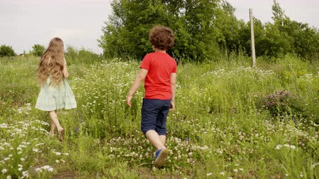 nastolatki : Happy childhood and outdoor activities. Teens children boy and girl walking on meadow together at summer on vacation. Cute children in nature park. Summer vacation on countryside, village, farm.