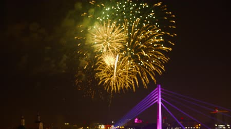 roket : Beautiful fireworks show on city holiday in dark sky. Bright fireworks on celebration day. Fireworks lighting night sky on blurred urban background