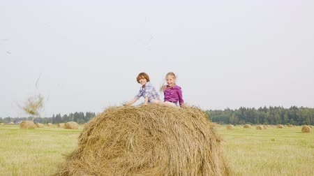 palheiro : Happy teenagers throwing up dry straw on haystack. Carefree boy and girl teenagers jumping on haystack at harvesting field. Friends having fun on countryside field Stock Footage