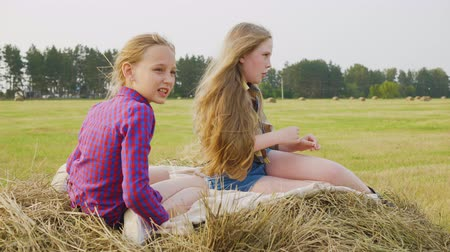 bales : Two teenager girls sitting on hay stack at countryside field in farmland. Happy girls chatting on hay stack at harvesting field. Teenager girl relaxing on autumn field Stock Footage
