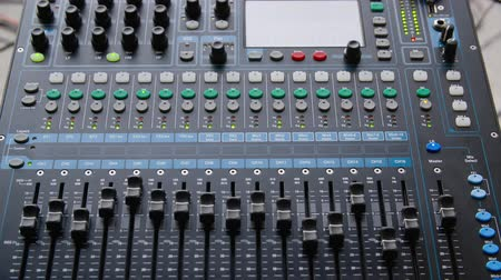 ayarlama : Mixer Console Electrical Sound Studio Closeup. Electronic Soundboard Professional Radio Record Musician Occupation. Knob Panel Button Amplifier Adjustment Music Industry Equipment Concept Stok Video