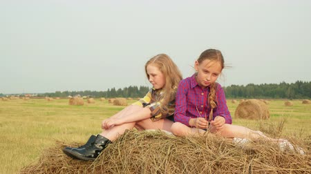 sombrero de paja : Teenager girl sitting on peak hay stack. Serious girl teenager thinking on hay stack at harvesting field. Girl friends relaxing on farmland field