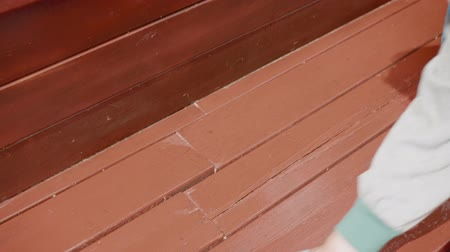 dienstbode : Clean Brown Wooden Boards Person Hands Closeup. Woman Tidy Up Stairs Water Bucket Clear Ladder Household Chores. Female Adult Mop Staircase Paint Floor Community Service Utility Concept Stockvideo