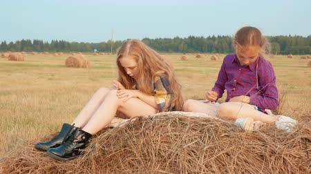 hooiberg : Two teenager girl relaxing on haystack at harvesting field in countryside. Young girl and boy teenager resting on hay stack in village field. Young girl on autumn field