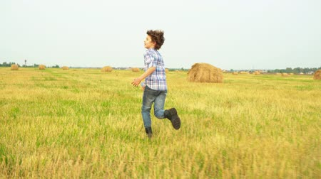 szalma : Boy teenager running away on autumn field in countryside. Back view teenager boy running on harvesting field on haystack landscape