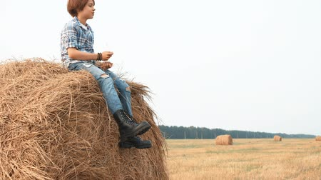 boyhood : Teenage boy sitting on haystack, talking and screaming. Low angle view of boy in denim pants and checkered shirt sitting in haystack and screaming on field during harvest Stock Footage