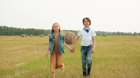 palheiro : Teenager couple walking on rural field on haystack background. Happy teenagers girl and boy holding hands and walking on countryside field in village