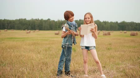 szénaboglya : Teenager boy and girl reading book on harvesting field on haystack landscape. Happy girl and boy looking book on countryside field on harvesting haystack background
