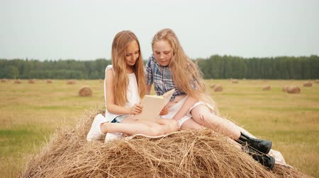 hay pile : Teenager girls reading book on haystack at countryside field at vacation. Surprised girls looking book on hay stack at harvesting field in village