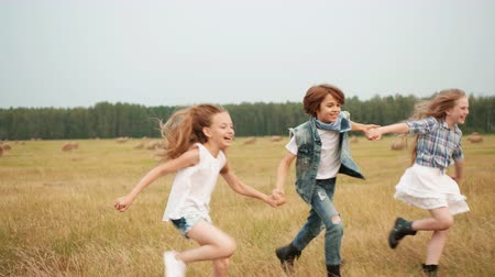 szénaboglya : Happy teenager friends holding hands running on harvesting field in village. Carefree teenager boy and girls running on haystack background on countryside field Stock mozgókép