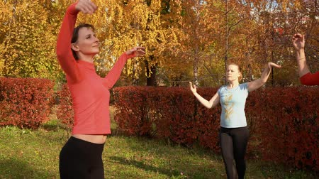 cursus : Slim woman practising port de bras exercise in colorful park at autumn day. Fitness woman training on dance class outdoor. Sport woman training choreography in autumn park