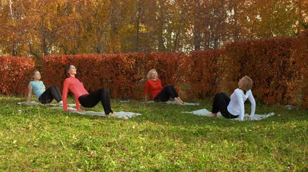 trener : Female group training stretching exercise on yoga carpet in autumn park. Fitness woman training on outdoor workout in colorful city park. Female fitness outdoor