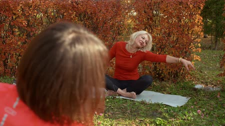 duše : Yoga woman meditating on outdoor yoga training in autumn park. Relaxed woman practising yoga asana on carpet in park. Yoga meditation, soul and body balance