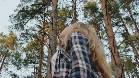 maravilha : Young girl looking to sky in pine forest. Romantic girl turning and looking up around on high pine trees in woodland. Low angle shot. Stock Footage
