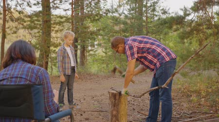 arrasto : Father together son chopping wood in campsite in summer forest. Dad and son chopping wood with axe in family camping. Fanily spending vacation in woodland