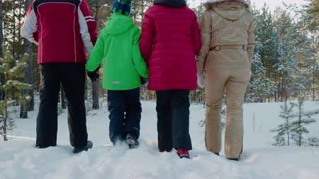 wooden path : Rear view family walking on snowy path in winter forest low angle view. Mom, dad, son and daughter walking in snowy woodland together dog at winter vacation Stock Footage
