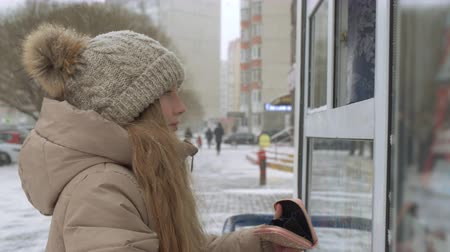 кошелек : Girl buying something at kiosk shop at snowy winter day. Side view of adorable teenage girl in winter jacket and knitted hat holding wallet with money and buying something at wintertime