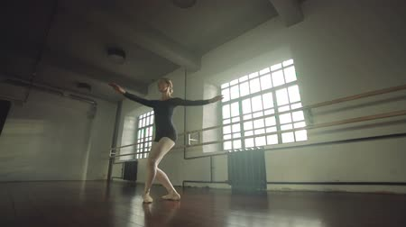 esneme : graceful girl practicing ballet in the Studio, slow motion , performs the elements of dance