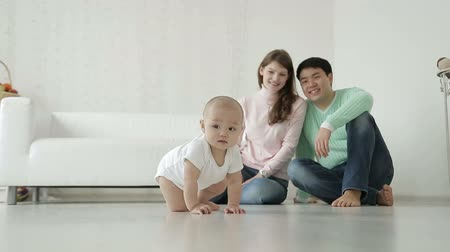 image house : family and small child Stock Footage