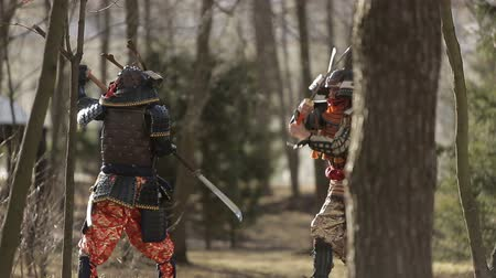 samuraj : a battle between two samurai in the forest Wideo