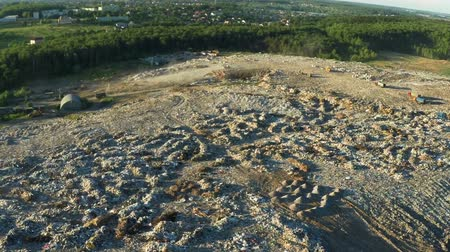 buldozer : the garbage dump located in the forest view from the height of bird flight Stok Video