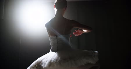 daintiness : Ballerina dances on stage, close-up with magic light and smoke on the background, slow motion