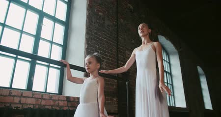 magánélet : adult ballerina teaching a little girl to dance class loft design