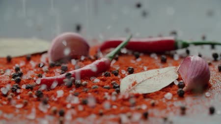 anason : a mix of a lot of spices pours on the table in slow motion, ingredients for Asian cuisine dishes