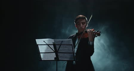 outstanding : Asian violinist soloist male performing at a concert of classical music