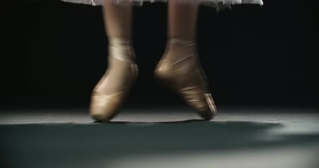 bird learning : close-up footage, ballerinas feet in pointe shoes during performance of classical ballet elements