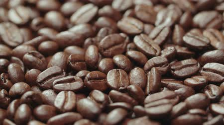 italian coffee : beautiful background from roasted coffee beans high quality, ready to grind Stock Footage