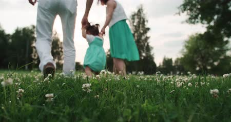 nenúfar : young Asian family with one year old baby walks in the Park holding hands, slow motionv Stock Footage
