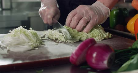 tempero : closeup cook cut vegetables for cooking vegetarian dishes in the restaurant