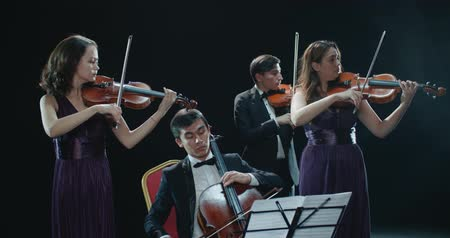 виолончель : classical string quartet during the performance of the symphony, abstract black background in the studio Стоковые видеозаписи