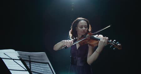 виолончель : beautiful young girl playing the violin during the concert