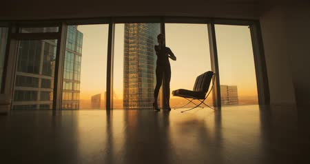 dusk : young woman businessman ceo talking, negotiating the panoramic windows in a skyscraper office, sunset, dolly shot