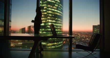 muse : young woman businessman ceo after a day with a cup of coffee in the hands of the panoramic windows in a skyscraper office, dolly shot