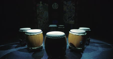 musical intrument : Taiko drums are on the stage before the performance, static scene, great for titles Stock Footage