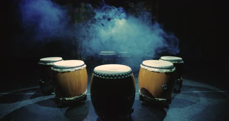 musical intrument : Taiko drums are on the stage before the performance, static scene,smoke on the background, perfect for titles Stock Footage