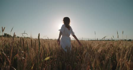 peyzajlı : Christianity Concept Young Pretty Woman Raising Hands in wheat field ,sunset,slow motion Stok Video