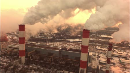 coal fired : aerial coal fired power plant