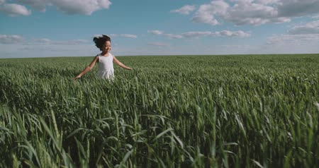 arejado : little girl in white dress happiness is running through a field of green wheat,slow motion, Steadicam shot