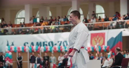 knocking : MOSCOW - March 11, 2017, arena Sambo-70, the Cup of Russia on karate:individual performances of the kata athletes, slow motion Stock Footage