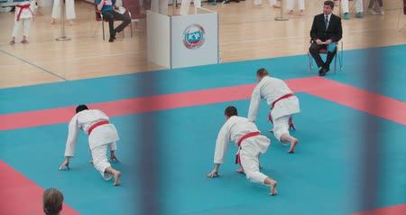 каратэ : MOSCOW - March 11, 2017, arena Sambo-70, the Cup of Russia on karate:group performances of the kata athletes, slow motion