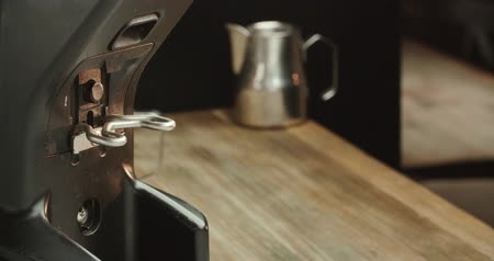 coffee press : close-up, coffee machine holder fill up ground espresso machine, professional Barista during work process Stock Footage
