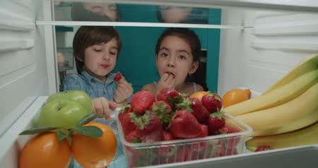 little cute turkish brother and sister searching in fridge and choosing from tasty fruits 4k Стоковые видеозаписи
