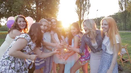 na zdraví : Smiling group of friends celebrating evening event taking selfie at glamorous fashion party drinking champagne, celebration in nature