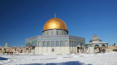 jerozolima : Dome of the Rock mosque in Jerusalem, Israel Wideo