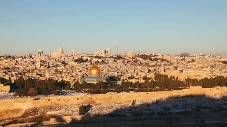 jeruzalém : Overview of Old City in Jerusalem, Israel with The Dome of the Rock Mosque
